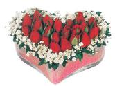 Tekirdağ çiçek , çiçekçi , çiçekçilik  mika kalpte kirmizi güller 9