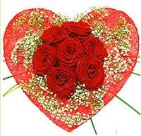 Mika kalp içerisinde 7 adet kırmızı gül  Tekirdağ internetten çiçek satışı