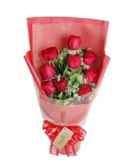 9 adet kırmızı gülden görsel buket  Tekirdağ çiçekçi mağazası