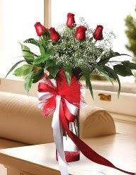 Camda 5 kırmızı gül tanzimi  Tekirdağ çiçek , çiçekçi , çiçekçilik