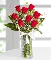 7 Adet vazoda kırmızı gül sevgiliye özel  Tekirdağ çiçekçiler