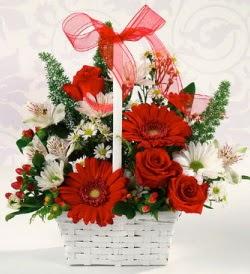 Karışık rengarenk mevsim çiçek sepeti  Tekirdağ online çiçek gönderme sipariş