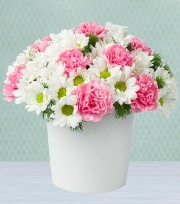Seramik vazoda papatya ve kır çiçekleri  Tekirdağ çiçekçiler