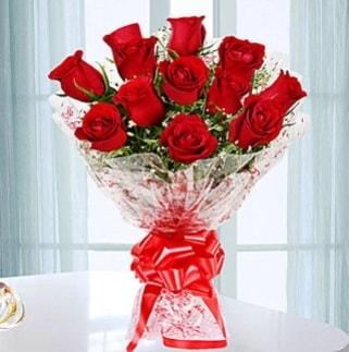 11 adet kırmızı gülden görsel şık buket  Tekirdağ çiçekçi mağazası