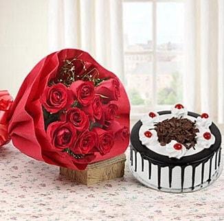 12 adet kırmızı gül 4 kişilik yaş pasta  Tekirdağ hediye çiçek yolla