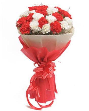 21 adet kırmızı beyaz karanfil buketi  Tekirdağ ucuz çiçek gönder