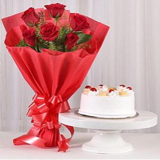 6 Kırmızı gül ve 4 kişilik yaş pasta  Tekirdağ hediye çiçek yolla