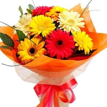 9 adet karışık gerbera buketi  Tekirdağ hediye çiçek yolla
