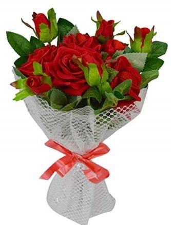 9 adet kırmızı gülden sade şık buket  Tekirdağ çiçek , çiçekçi , çiçekçilik