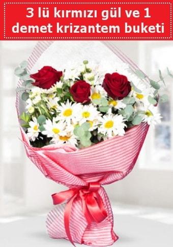 3 adet kırmızı gül ve krizantem buketi  Tekirdağ çiçek gönderme