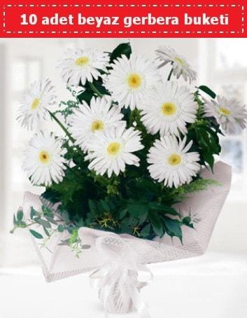 10 Adet beyaz gerbera buketi  Tekirdağ hediye çiçek yolla