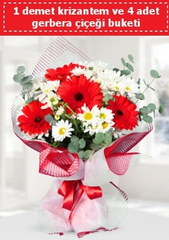 Krizantem ve Gerbera Buketi  Tekirdağ çiçekçiler