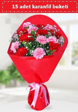 15 adet karanfilden hazırlanmış buket  Tekirdağ 14 şubat sevgililer günü çiçek