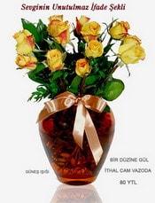 Tekirdağ internetten çiçek siparişi  mika yada Cam vazoda 12 adet sari gül